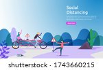 social distancing prevention...   Shutterstock .eps vector #1743660215