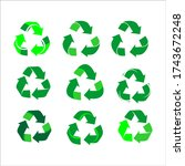 collection of green recycle... | Shutterstock .eps vector #1743672248