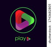 3d play button for youtube and... | Shutterstock .eps vector #1743682805