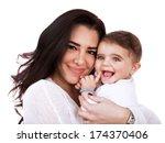 closeup portrait of cute mother ... | Shutterstock . vector #174370406