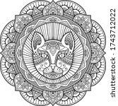 cat head mandala coloring book. ...   Shutterstock .eps vector #1743712022