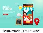 online food shopping on mobile... | Shutterstock .eps vector #1743712355