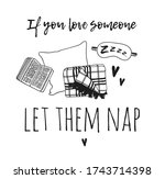 hand drawn objects about sleep...   Shutterstock . vector #1743714398