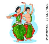 dancing oriya couple doing... | Shutterstock .eps vector #1743737828