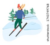 young happy girl riding on ski... | Shutterstock .eps vector #1743749768