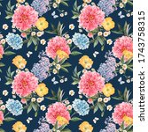 beautiful seamless pattern with ... | Shutterstock . vector #1743758315