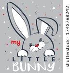 cute cartoon little banny head... | Shutterstock .eps vector #1743768242