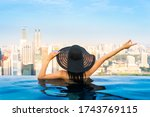 young woman in a roof top... | Shutterstock . vector #1743769115