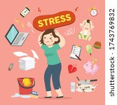 stressed woman working mom... | Shutterstock .eps vector #1743769832