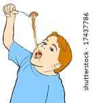 line drawing of a boy eating...   Shutterstock .eps vector #17437786