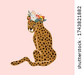 hand drawn leopard in with... | Shutterstock .eps vector #1743821882