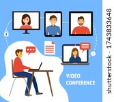 video conference with... | Shutterstock .eps vector #1743833648