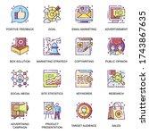 marketing strategy flat icons...