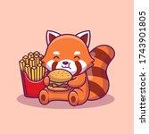 Cute Panda Eat Burger And...