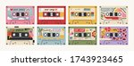 set of eight retro vintage tape ... | Shutterstock .eps vector #1743923465