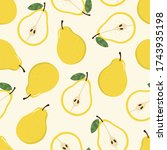 sweet yellow pear seamless... | Shutterstock .eps vector #1743935198