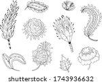 modern indian black and white... | Shutterstock .eps vector #1743936632