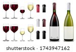 red and white wine bottles and... | Shutterstock .eps vector #1743947162