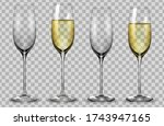 full and empty white champagne... | Shutterstock .eps vector #1743947165