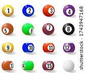 billiard  pool or snooker balls ... | Shutterstock .eps vector #1743947168