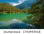 German Alps Landscape. Turquoise Crystal Clean Water in the Bavarian Lake. Scenic Summer Destination - stock photo