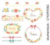 floral frame for love  happy... | Shutterstock .eps vector #174395582