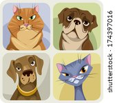 vector cat and dog portraits... | Shutterstock .eps vector #174397016
