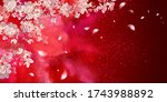 spring blooming branches on red ... | Shutterstock .eps vector #1743988892