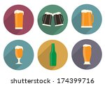 flat beer icons with long...