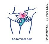 abdominal pain. vector... | Shutterstock .eps vector #1744011332