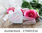 valentines day greeting card with heart shape and text  - stock photo