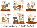 stylish boho interior set with... | Shutterstock .eps vector #1744124345