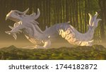 3D represenation of a dragon, resting on a forest, in sunset.
