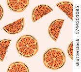 orange citrus fruit  sliced... | Shutterstock .eps vector #1744201085