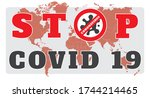 stop covid 19 concept on world... | Shutterstock .eps vector #1744214465