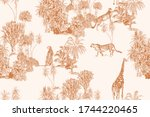 safari wildlife cheetah ... | Shutterstock .eps vector #1744220465