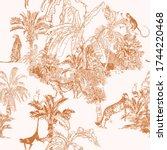 monkey  cheetah wild animals ... | Shutterstock .eps vector #1744220468