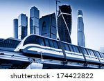 skyscrapers and monorail train. ... | Shutterstock . vector #174422822