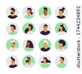 set of profile portraits of... | Shutterstock .eps vector #1744234892