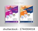 travel poster flyer pamphlet... | Shutterstock .eps vector #1744304018