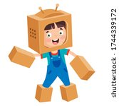 happy kid playing with... | Shutterstock .eps vector #1744339172