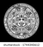 aztec calendar vector black and ...   Shutterstock .eps vector #1744340612