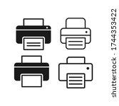 printer set flat vector icon....