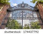 Stock photo harvard university s iron gate in cambridge massachusetts usa 174437792