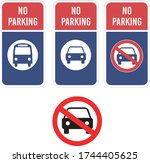 no parking bus car sign vehicle ... | Shutterstock .eps vector #1744405625