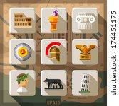 roman empire flat icon set.... | Shutterstock .eps vector #174451175