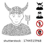 line mosaic horned warrior icon ... | Shutterstock .eps vector #1744515968