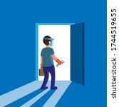 man wear full protection mask... | Shutterstock .eps vector #1744519655