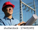 engineer with red hard hat and...   Shutterstock . vector #174452492