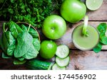 green smoothie with apples... | Shutterstock . vector #174456902